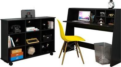 Mesa Escrivaninha Idealle Nicho Multiuso Toys Preto e Cadeira Charles Amarela - Mpozenato
