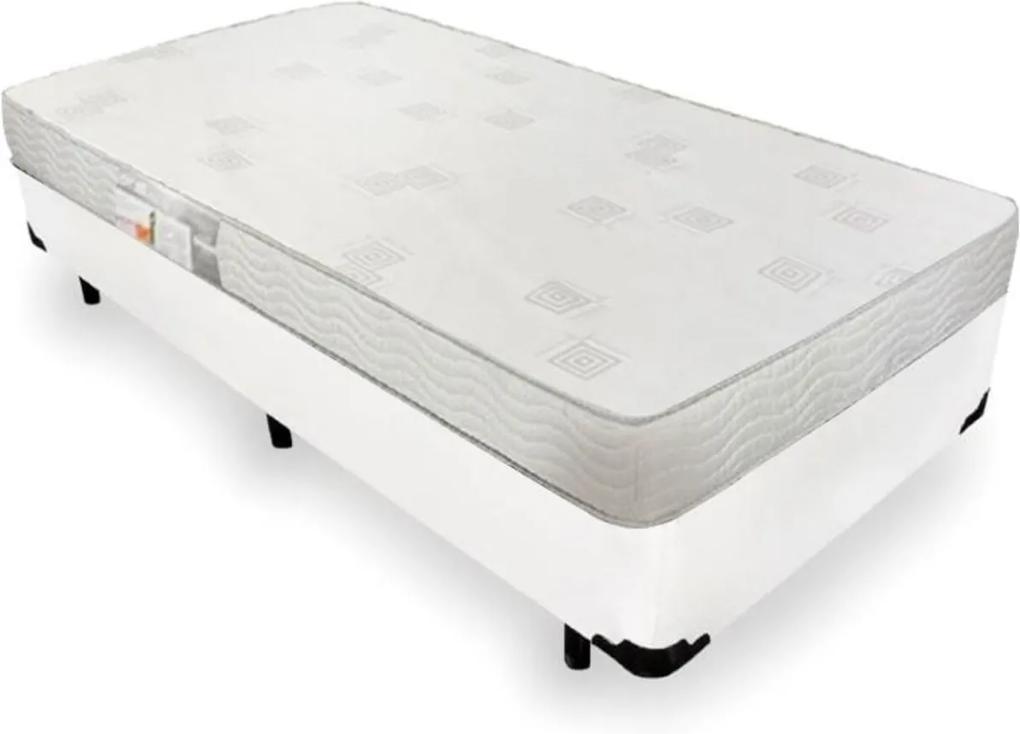 Cama Box Solteiro + Colchão De Espuma D23 - Ortobom - Light Liso 78x188x47cm Branco