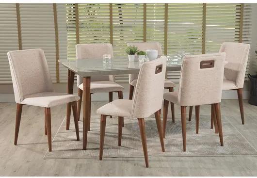 Conjunto Sala de Jantar com Mesa Branco Gloss Tampo Vidro, Fendi e 6 Cadeiras, Natural, Fiorella