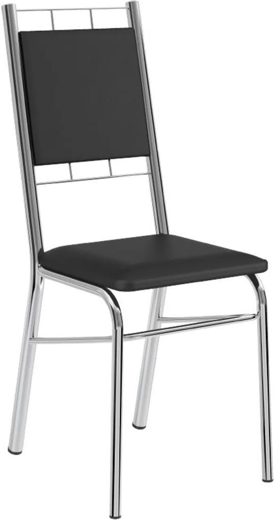 Cadeira Tubo Cromado Napa Preta Carraro