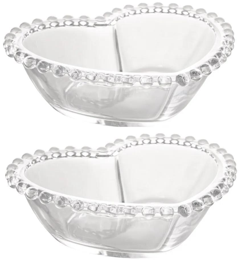 Jogo Bowls Cristal Coração 2 Peças Pearl 15x13x5cm 28376 Wolff