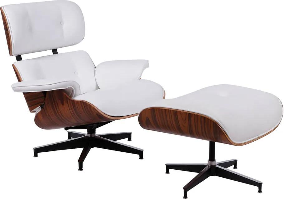 Poltrona Charles Eames com Puff Couríssimo - Branco
