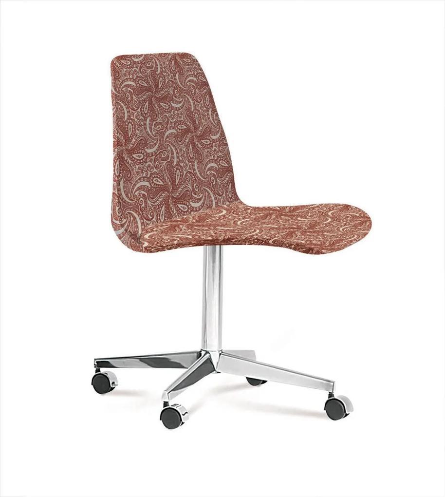 Cadeira Eames Base Cromada Com Rodizio Daf Bege/Marsala