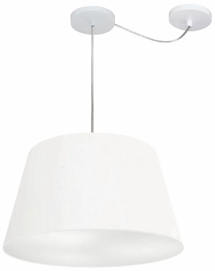 Lustre Pendente Cone Com Desvio de Centro Vivare Md-4279 Cúpula em Tecido 30x40cm - Bivolt - Branco - 110V/220V (Bivolt)