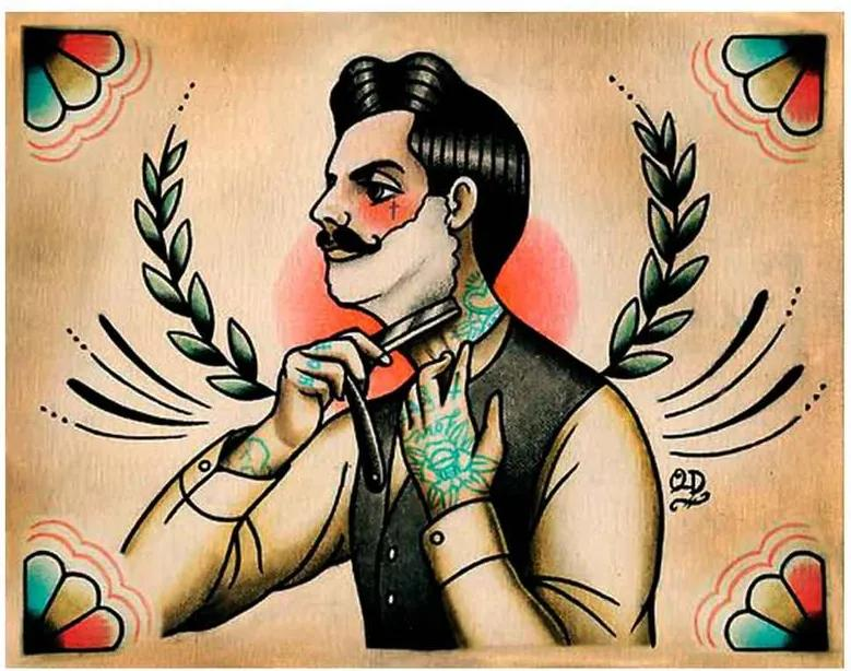 Placa Decorativa Para Barbearias Quyen Dihn shaving Victorian Man