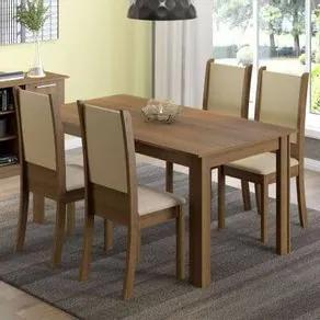 Conjunto Sala de Jantar Madesa Melissa Mesa Tampo de Madeira com 4 Cadeiras Rustic/Crema/Sintético Bege Cor:Rustic/Crema/Bege