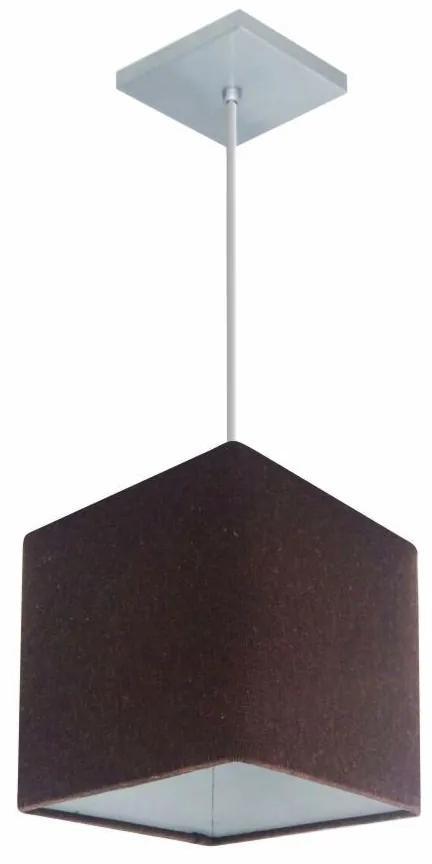 Lustre Pendente Quadrado Md-4224 Cúpula Tecido 16/16x16cm Café