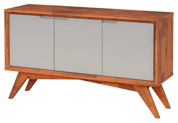 Buffet Serafim 3 Portas Natural e Fendi - Wood Prime MP 27621