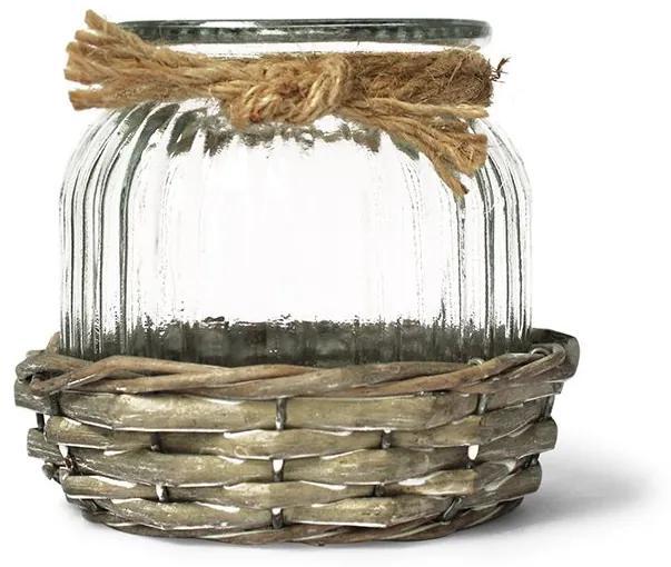 Vaso porta vela de vidro e fibra