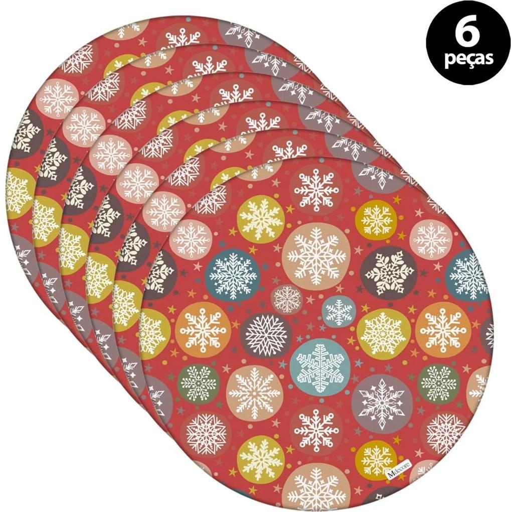 Sousplat Mdecore Natal Flocos de Neve 32x32cm Vermelho 6pçs