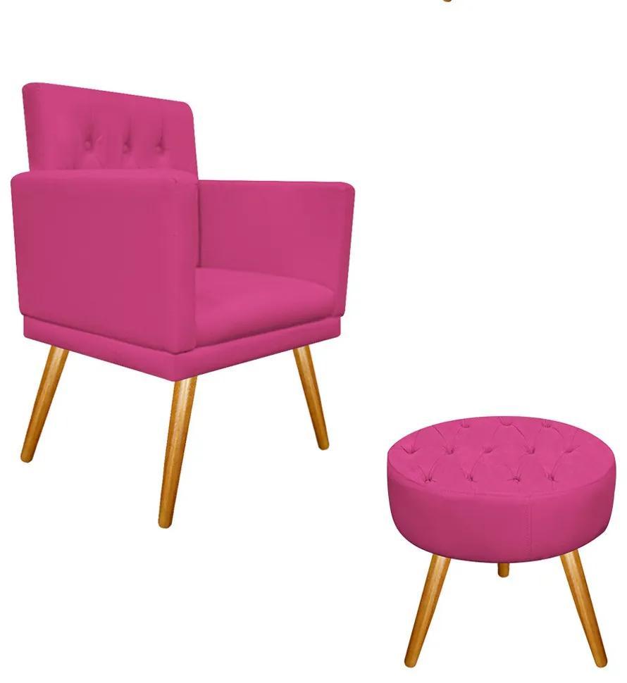 kit Poltrona e Puff Fernanda Palito Mel Corano Pink - ADJ Decor