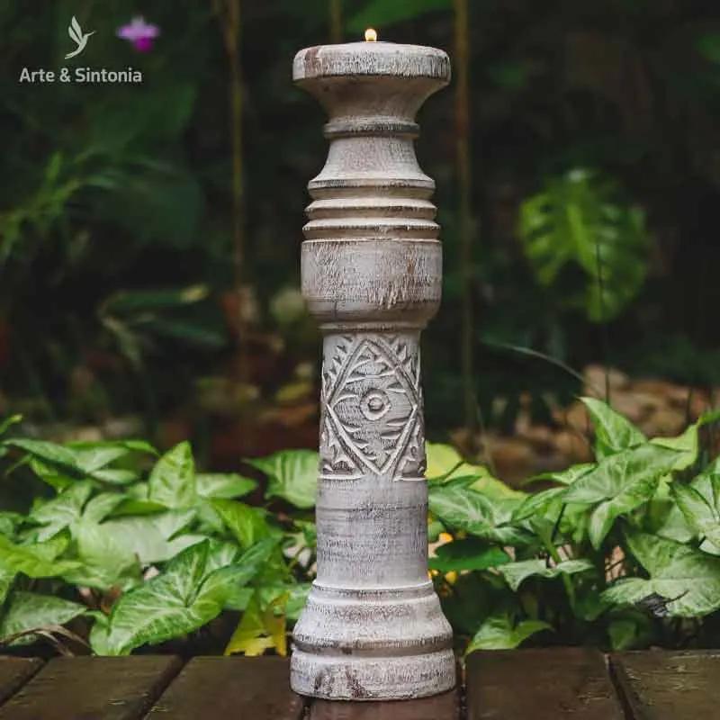 Castiçal em Madeira Boho | Bali