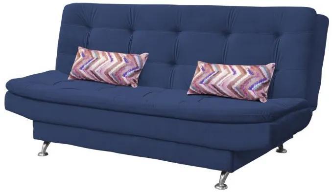 Sofá Cama Casal Reclinável Salomé - Veludo Azul marinho almofada 464