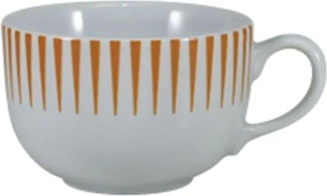 Xícara Café com Pires 100 ml Porcelana Schmidt - Dec. Sol Laranja