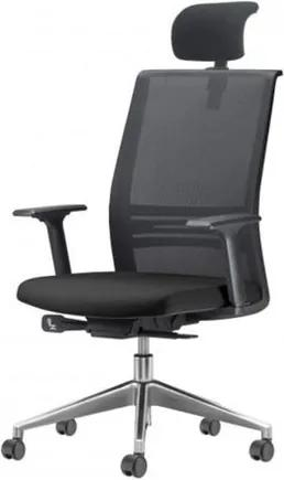 Cadeira Agile Presidente com Encosto de Cabeca Assento Courino Preto Base Aluminio Piramidal e Rodizio em PU - 55711 Sun House