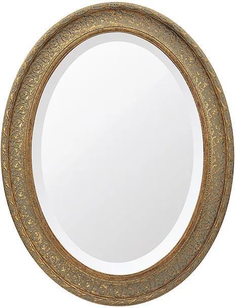 Espelho Oval Bisotê Ouro Envelhecido Grande