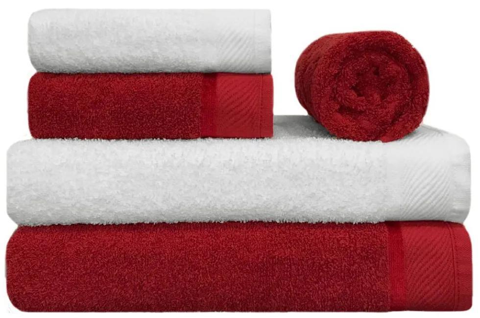 Toalha de Banho 100% Algodão Penteado jogo com 2 Banhão 2 Rosto e 1 Piso Vermelha e Branca