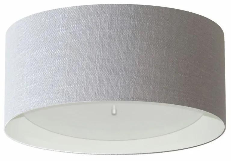 Plafon Cilíndrico Md-3161 Cúpula em Duplo Tecido 50x25cm Cinza / Branco - Bivolt