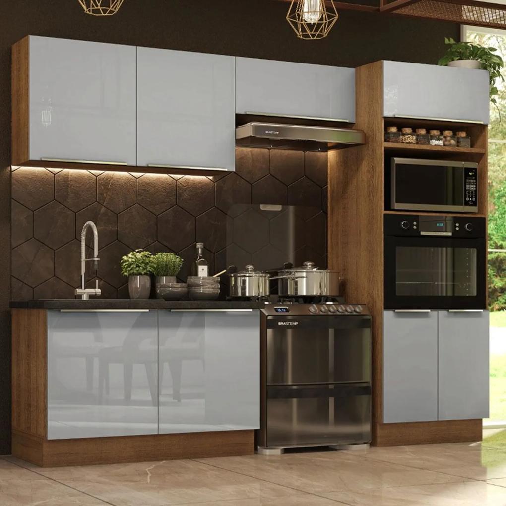 Cozinha Completa Madesa Lux 270001 com Armário e Balcão - Rustic/Cinza Cinza