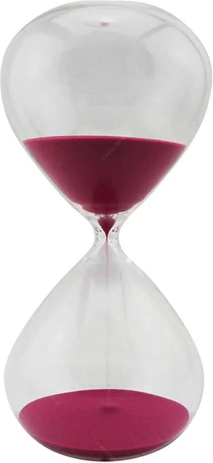 Ampulheta Clear Glass Rosa 90 minutos em Vidro - Urban - 30x16 cm