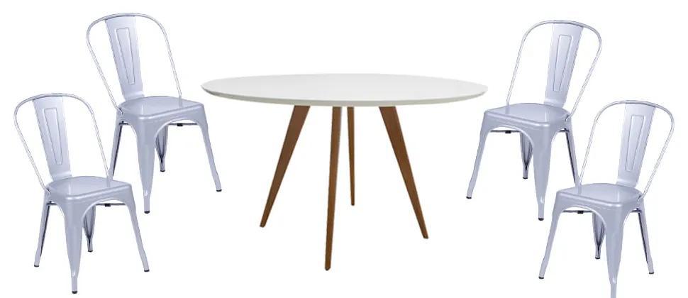 Conjunto Mesa Square Redonda Branco Fosco 88cm + 4 Cadeiras Tolix Cinza Metálico