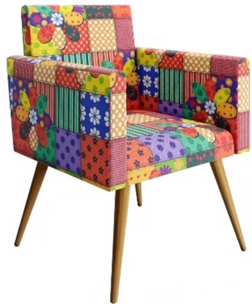 Poltrona Decorativa Nina Pés Palito Suede Patchwork - DS Móveis