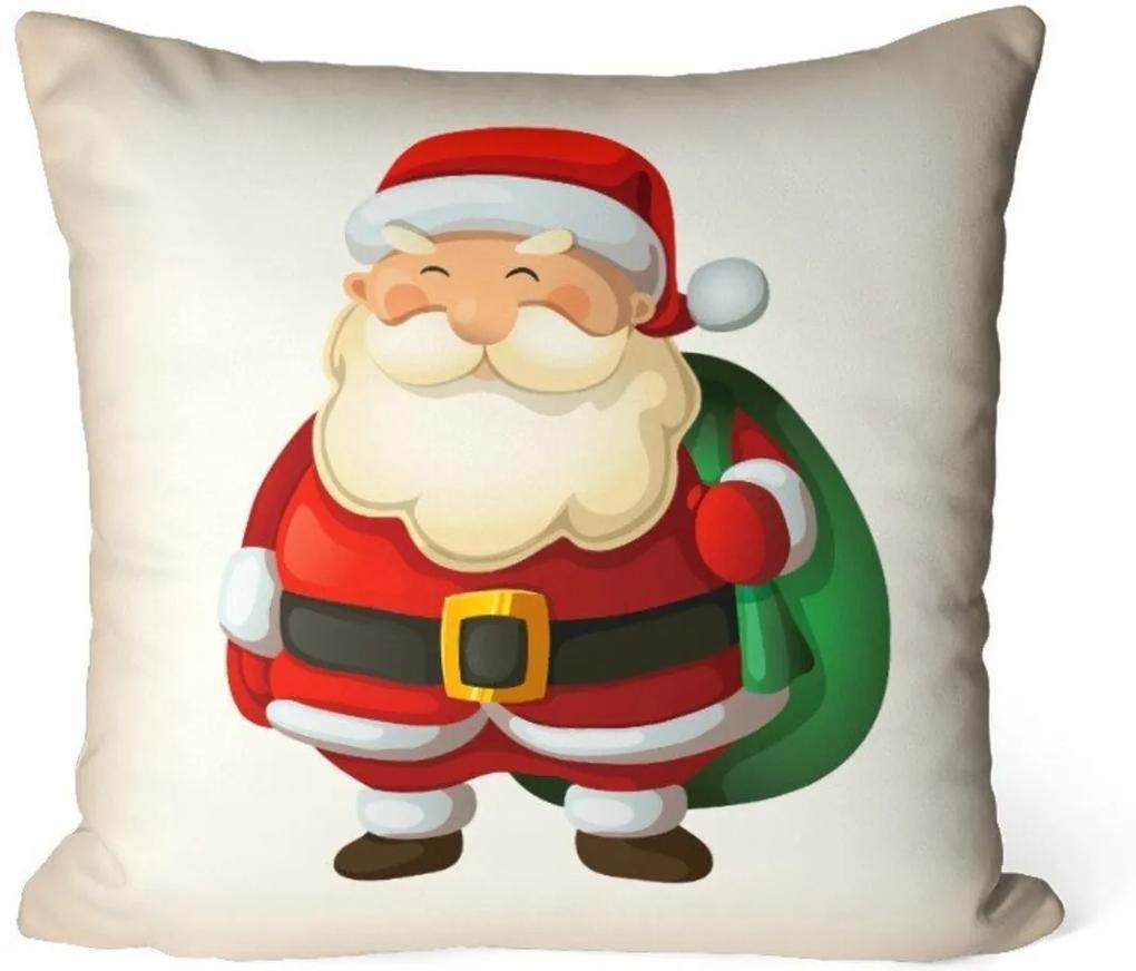 Capa de Almofada Avulsa Decorativa Papai Noel Cute 35x35cm