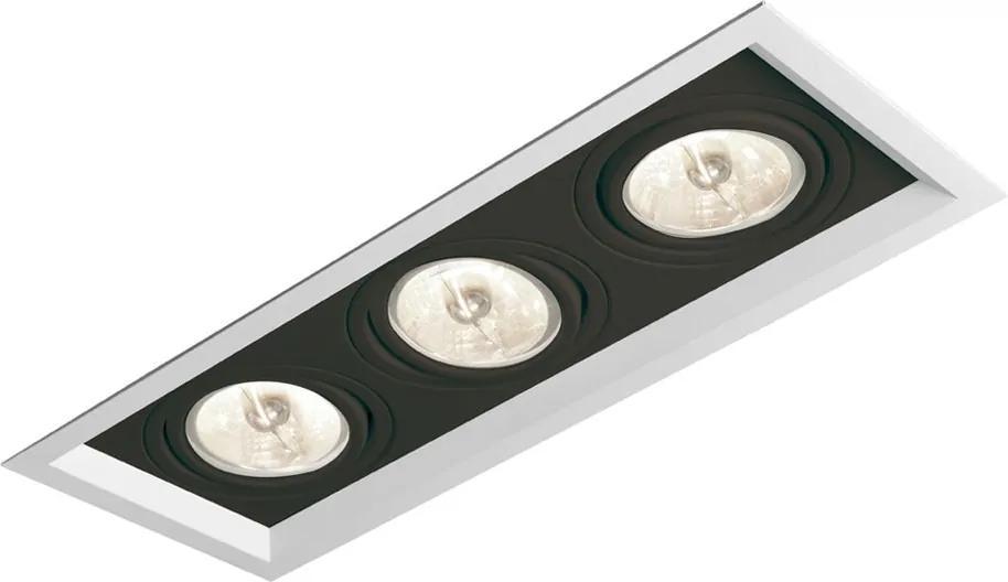 Plafon Embutir Aluminio Branco Preto 28,3cm Recuado Ii