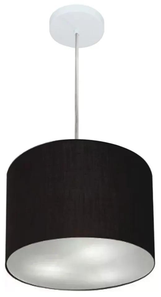 Lustre Pendente Cilíndrico Md-4210 Cúpula em Tecido 30x25cm Preto - Bivolt