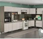 Cozinha Completa Modulada Malbec Avelã 12 Peças 7550 PT Móveis