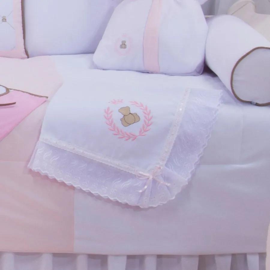 Manta de Bebê Princesa Ursa Rosa 100% Algodão