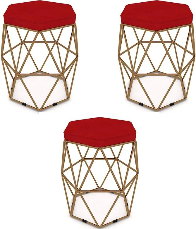 Kit 3 Puffs Aramado Hexagonal Base de Ferro Cobre Suede Vermelho - Sheep Estofados - Vermelho