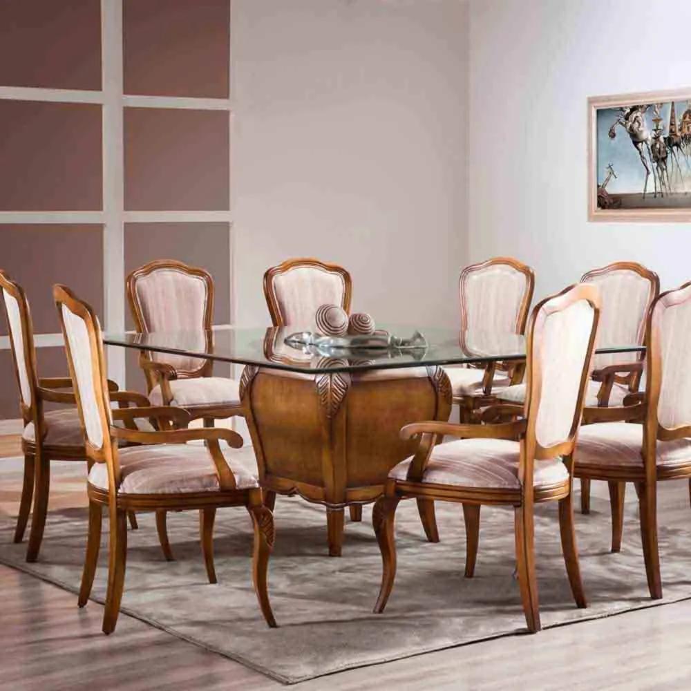 Mesa de Jantar Hillux Quadrada Base Madeira Maciça Design Clássico Avi Móveis