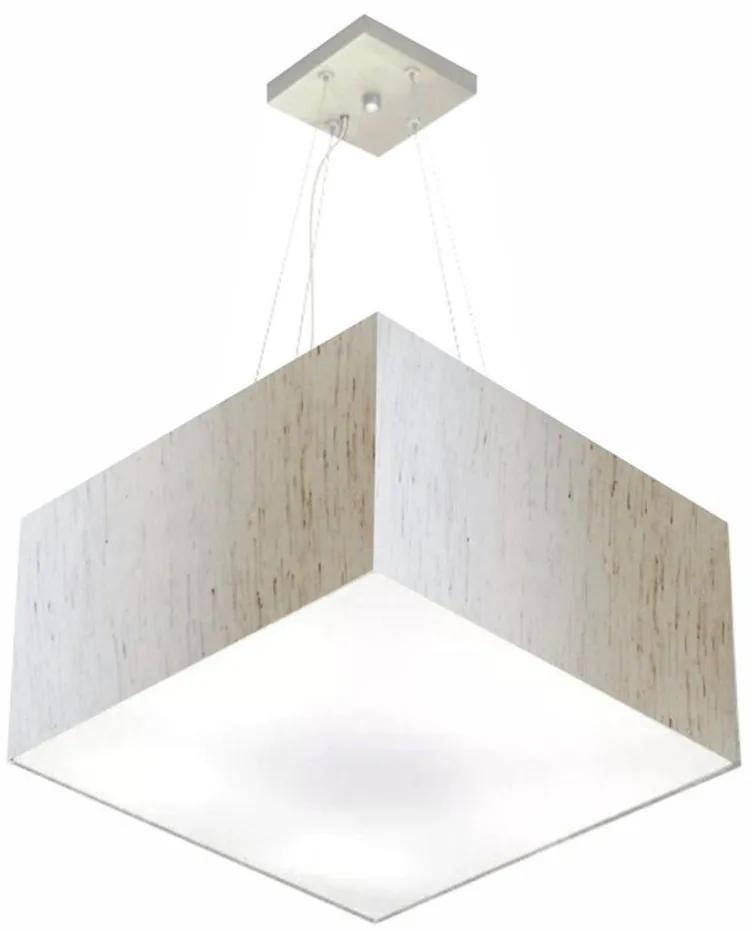 Lustre Pendente Quadrado Md-4199 Cúpula em Tecido 30/60x60cm Linho Bege - Bivolt