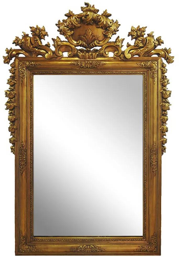 Espelho com Moldura Clássica Dourada Estilo Francês - 185x5x123cm