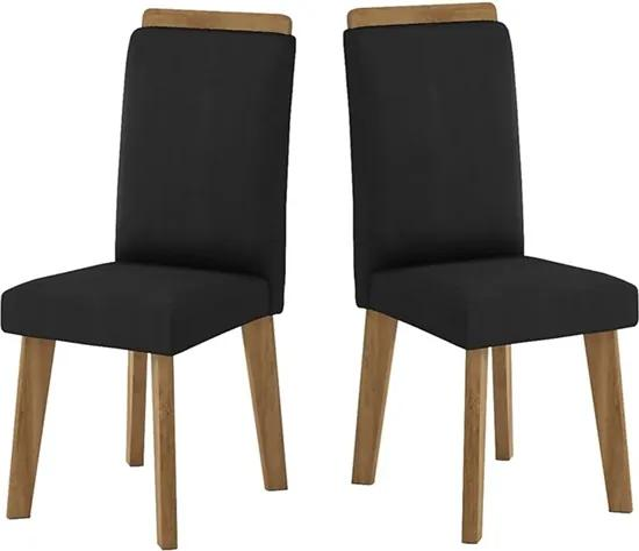 Kit com 2 Cadeiras Diamante Preta - RV Móveis