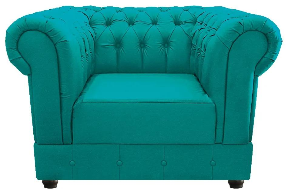 Poltrona Decorativa Chesterfield Ana Corano Azul Turquesa - ADJ Decor