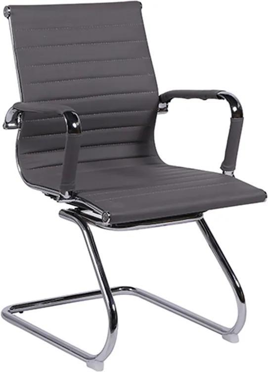 Cadeira Base Fixa em Pu Cinza