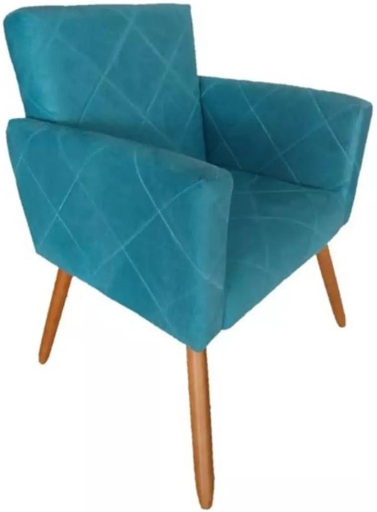 Poltrona Decorativa Pés Palito Nina Estilo Costura Azul - DS Móveis