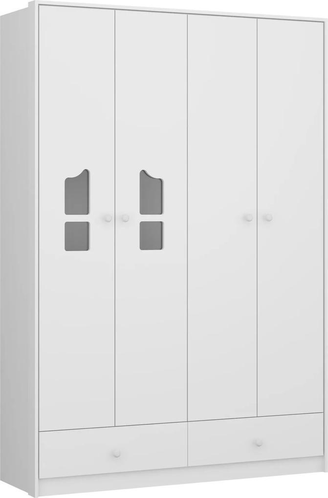 Guarda-Roupa Camafeu 4 Pts e 3 Gav. Branco 2688.156 Multimóveis