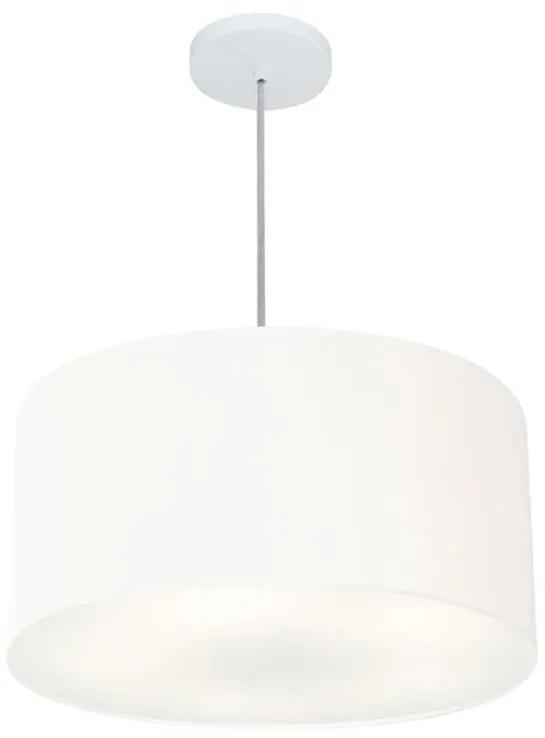 Lustre Pendente Cilíndrico Vivare Md-4242 Cúpula em Tecido 45x25cm - Bivolt - Branco - 110V/220V (Bivolt)
