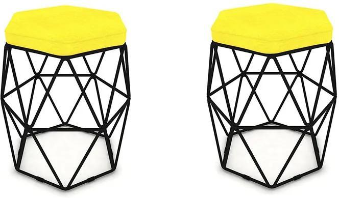 Kit 2 Puffs Aramado Hexagonal Base de Ferro Preta Suede Amarelo - Sheep Estofados - Amarelo