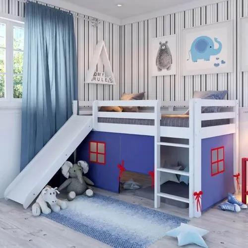 Cama Alta Kids com Escorregador e Cabaninha Azul - Branco