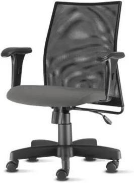 Cadeira Liss com Bracos Curvados Assento Courino Cinza Escuro Base Metalica Preta - 54654 Sun House