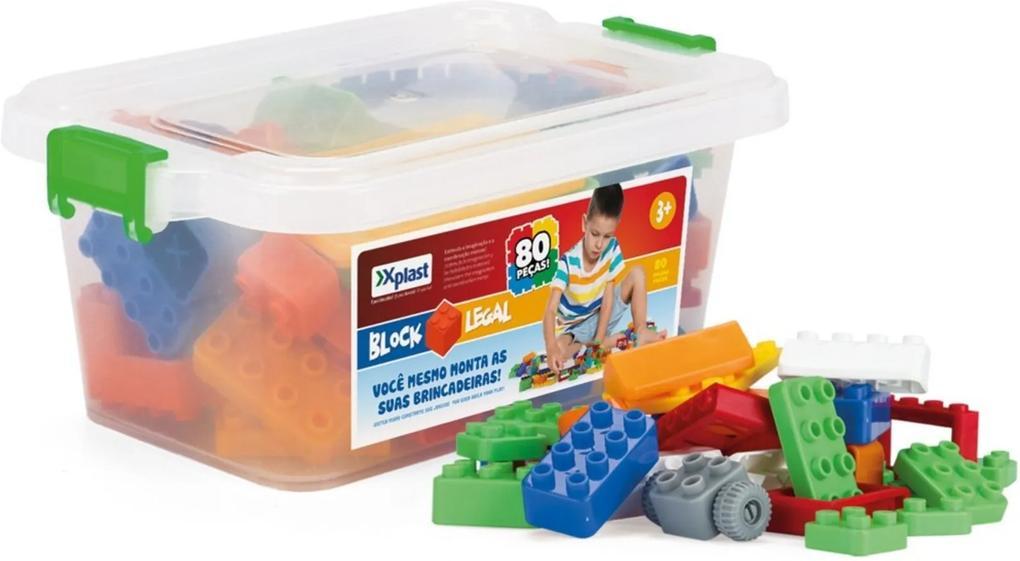 Block Legal Xplast Blocos de Encaixar e Montar - 80 peças - PVC - 5103 - Branco