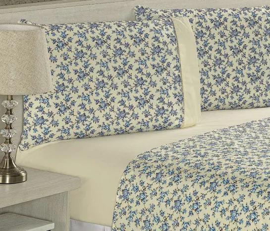 Roupa de Cama Casal King Suprema 180 Fios 04 Peças - Floral Azul