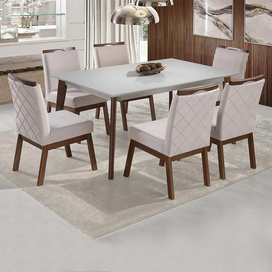 Mesa de Jantar 1,60X1,00m C/ Tampo em Laca e Vidro Colado