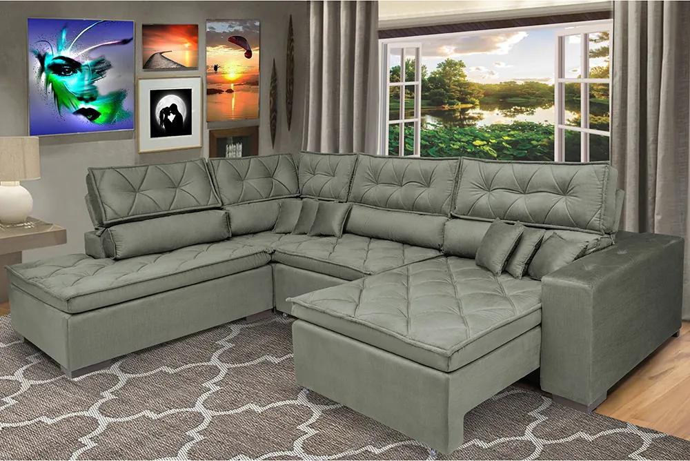 Sofa De Canto Retrátil E Reclinável Com Molas Cama Inbox Platinum Esquerdo 2,84x2,36 Suede Cinza