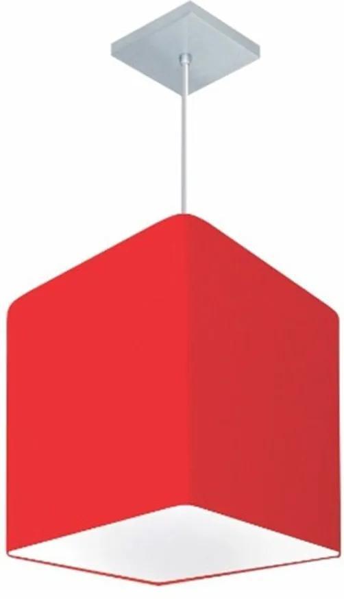 Lustre Pendente Quadrado Md-4051 Cúpula em Tecido 31/25x25cm Vermelho - Bivolt