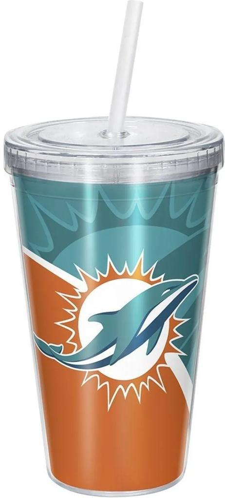 Copo Com Canudo Luxo NFL Miami Dolphins